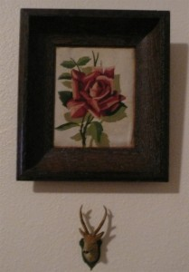 mini stag trophy and paint-by-# rose
