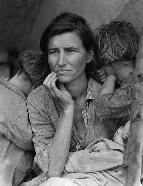 Migrant Mother by Dorothea Lange. Arguably the most recognizable image in the collection.